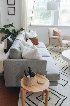 """Home Decor For Small Spaces """"One of my favorite things about this couch, it doesnt lose its shape. With dogs and an OCD husband, this was huge for us. Were not constantly fixing the cushions, which has been a nice change."""" Photo by Crystalin Marie. Living Room Grey, Living Room Modern, Home Living Room, Apartment Living, Living Room Furniture, Living Room Designs, Rustic Furniture, Antique Furniture, Modern Furniture"""