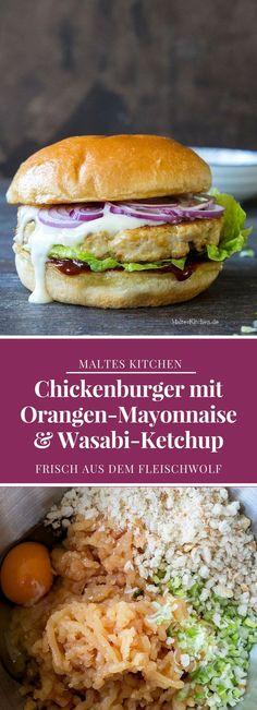 Chickenburger mit Orangen-Mayonnaise und Wasabi-Ketchup | #Rezept von malteskitchen.de