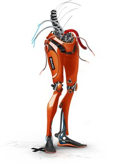 robotic legs concept, structured with an exoskeleton shell system. Humanoid Robot, 2d, Shell, Concept, Legs, Superhero, Orange, Fictional Characters, Fantasy Characters