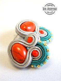 Soutache lobe earrings Annika hand sewn small di TrixAccessori