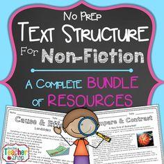 Text Structure Resources for Non-Fiction } NO Prep