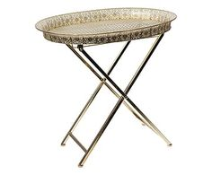 Tavolino in metallo oro, 56x41x54 cm