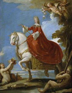 Maria Anna of Neuburg on horseback by Luca Giordano, Prado Museum, Madrid.Marie Louise of Orléans, the first wife of Charles II of Spain, had died childless on 12 February 1689. Maria Anna was chosen out of the many candidates to become his second wife because her ancestors had been very fertile - her parents had had 17 children. In addition, her eldest sister Eleonore was married to Emperor Leopold I so Spain's ties with the Austrian branch of the Habsburgs would become even stronger.
