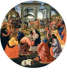 Domenico Ghirlandaio: Adorazione dei Magi Tornabuoni Adorazione dei Magi Tornabuoni, anno 1487 circa, tavola, tondo, diametro cm.171, Galleria degli Uffizi, Firenze.