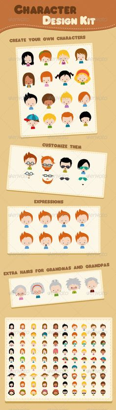 Character Design Kit — Vector EPS #infographics #cute • Available here → https://graphicriver.net/item/character-design-kit/7076950?ref=pxcr