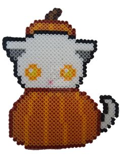 Pumpkin Kitty - Halloween perler beads by PerlerHime on deviantART
