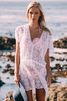 White Elegant Lace Beach Cover Up Dress