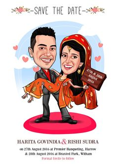 Get your personalized wedding caricature card design from www. Quirky Wedding Invitations, Indian Wedding Invitation Cards, Wedding Invitation Video, Wedding Cards, Invites, Invitation Ideas, Wedding Badges, Create Invitations, Destination Wedding Invitations