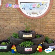 Create a Sensory Garden using old tyres! Such a fantastic way to use an unwanted item to provide a new experience for the children. Children can smell, look, taste and feel the contents of the tyres… Outdoor Learning Spaces, Kids Outdoor Play, Outdoor Play Areas, Outdoor Spaces, Eyfs Outdoor Area Ideas, Preschool Garden, Sensory Garden, Eyfs Classroom, Outdoor Classroom