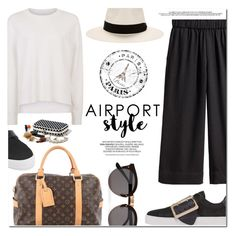 """""""Jet Set: Airport Style"""" by monica-dick ❤ liked on Polyvore featuring Sweaty Betty, Louis Vuitton, Illesteva, rag & bone, Burberry, travel, airportstyle, polyvoreeditorial and travelinstyle"""