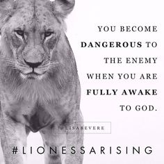 """""""Lioness, the darkness trembles when you turn your face toward the light. """"Awake, sleeper, and arise…"""""""