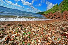 Glassy Beach - King's Point in Central Newfoundland. Glassy Beach is partially composed of hundreds of wave washed pieces of glass Newfoundland Canada, Newfoundland And Labrador, O Canada, Canada Travel, Canada Trip, Atlantic Canada, Nova Scotia, Beach Photos, Beautiful Beaches