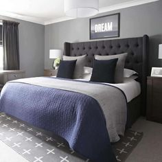 Grey and Navy bedroom, Urban Outfitters rug, upholstered bed, Farrow and Ball Plummet, by Interior Therapy.
