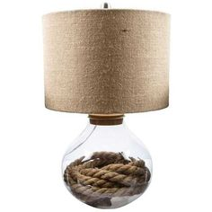 Refillable Glass Base Lamp with Burlap Shade ($45) ❤ liked on Polyvore featuring home, lighting and glass base lamps