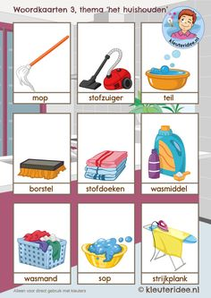 Woordkaarten 3 thema 'het huishouden', kleuteridee, free printable Preschool Lessons, Activities For Kids, Glenn Doman, Learn Dutch, Dutch Words, Dutch Language, Dutch House, Exercise For Kids, English Lessons
