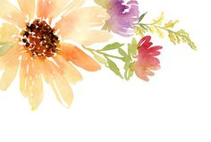 Postcard watercolor sunflowers. Wedding. Floral background.