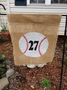 Baseball/softball+burlap+flag++by+Criddyscreations+on+Etsy,+$15.00