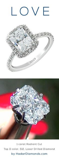 CyberMonday Diamonds by HadarDiamonds.com . 1 carat Radiant Cut Diamond, top D color, SI2, laser drilled diamond.