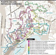 Stadtplan von 2014 für Routen durch die schönsten Höfe in #Cordoba
