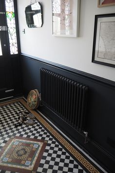Affordable art and where to find it - The Frugality - Summertrends. Victorian Terrace Hallway, Edwardian Hallway, Victorian Terrace Interior, Tiled Hallway, Hallway Flooring, Dark Hallway, House Extension Design, House Design, Live