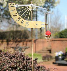 Jeffersonian Rain Gauge Living Finish Brass, Conant Solid Brass Rain Gauges at Songbird Garden
