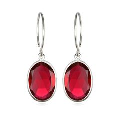 Catalina Oval Earring Ruby Pink Silver