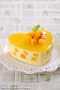 Mango frozen cheesecake-- Have to try to make this-just because it's so pretty!