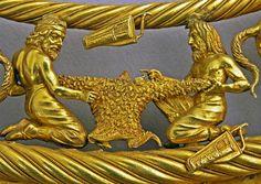 MOST INCREDIBLE DETAIL WORKMANSHIP A golden pectoral, 400 BC. Depicting Scythian life and mythologies. 3000-100 BC