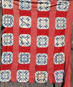 1880 1900 Blue Red Star Quilt Top
