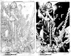The Black & Whites: Rogue  Art by: Chris Bachalo & Tim Townsend  Today we explore the colorless world of Comic book Inking by Tim Townsend.