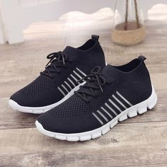 Midress Women's Mesh Breathable Sport Shoes Lace Up Solid Lightweight Casual Socks Shoes Running Sneakers Most Comfortable Shoes, Comfortable Sneakers, Comfy Shoes, Casual Sneakers, Casual Shoes, Shoes Sneakers, Sock Shoes, Slip On Shoes, Running Sneakers