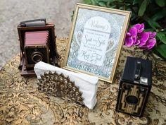 Vintage art decor decor vignette with antique cameras and signage Great Gatsby Wedding, Wedding Ideas, Antique Cameras, All Family, Vignettes, Vintage Art, Signage, Art Decor, Modern