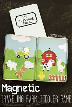 Make your own magnetic traveling farm toddler game using DVD tins - use your Silhouette or just get store bought magnets to fill them!