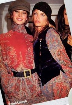 Christy Turlington & Stephanie Seymour,  backstage at Ralph Lauren
