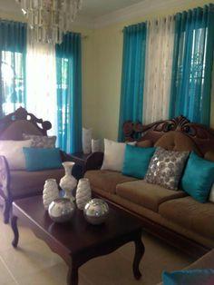 Cortinas Con Argollas Teal Living Rooms Home Room Area
