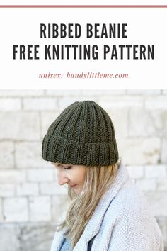 This ribbed beanie knitting pattern is a really easy knit, making a ribbed mariner's hat for a man or woman to wear. Beanie Knitting Patterns Free, Knit Beanie Pattern, Beginner Knitting Patterns, Knitting Stitches, Knit Patterns, Free Knitting, Knitting Paterns, Knitting Machine, Knitting Projects