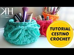 ♡ [Tutorial Uncinetto #13] Cestino in fettuccia | Crochet basket | Fondo tondo | Crochet ♡ - YouTube