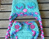 "Sleepy ""Cotton Candy"" Owl Diaper Cover & Hat Set  (Newborn - 3 months). $35.00, via Etsy."