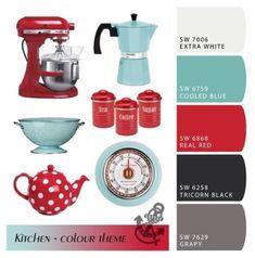 Image result for deep teal red kitchen