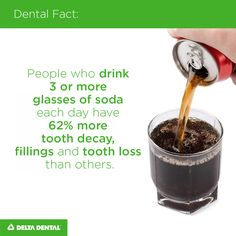 People who drink 3 or more glasses of soda each day have 62% more tooth decay, fillings and tooth loss than others.