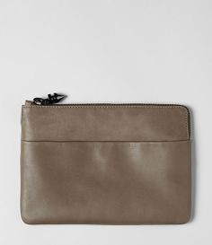zip clutch in taupe
