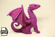 Large collection of crochet dragon amigurumi patterns that are perfect for handmade gift ideas for kids or just for keeping your hands occupied! Crochet Motifs, Crochet Patterns Amigurumi, Crochet Dragon Pattern, Crochet Dolls, Free Crochet, Dragons, Pattern Library, Digital Pattern, Single Crochet
