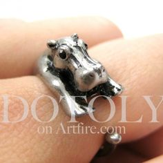 $10 Miniature Baby Hippo Animal Ring in Silver - Sizes 5 to 9 available