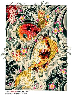 Koi Fish Tattoo Designs | Koi fish tattoo design with water and cherry blossom