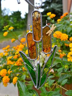 Cattails and Dragonfly Stained Glass Suncatcher by dortdesigns, $13.25