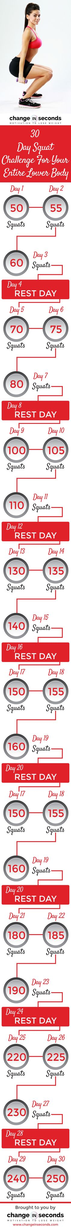 30 Day Squat Challenge Chart (Download PDF) http://www.changeinseconds.com/30-day-squat-challenge-for-your-entire-lower-body/