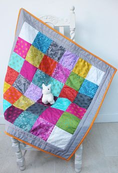 rainbow baby quilt patchwork playmat cot tummy time mat nursery decor toddler blanket alison glass cotton fabric wadding big stitch quilting