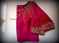 Pattu Saree Blouse Designs, Blouse Designs Silk, Designer Blouse Patterns, Bridal Blouse Designs, Simple Blouse Designs, Stylish Blouse Design, Maggam Works, Work Blouse, Boat Neck