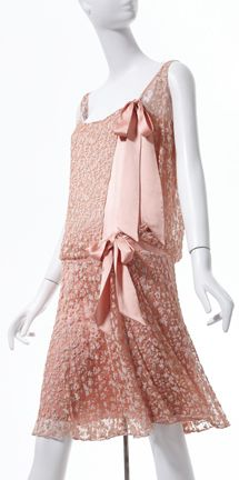 """Gabrielle """"Coco"""" Chanel (French, 1883-1971). Dress, 1925, crystal beads on lace, silk ribbon. Collection of Phoenix Art Museum, gifts of Mrs. Wesson Seyburn. Photographs by Ken Howie."""