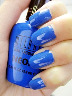Review: Milani Nail Lacquer Neon, 'Dude Blue 505'  neon blue nail polish Neon Blue Nails, Blue Nail Polish, Milani, Electric Blue, Nerd, Beautiful, Otaku, Geek